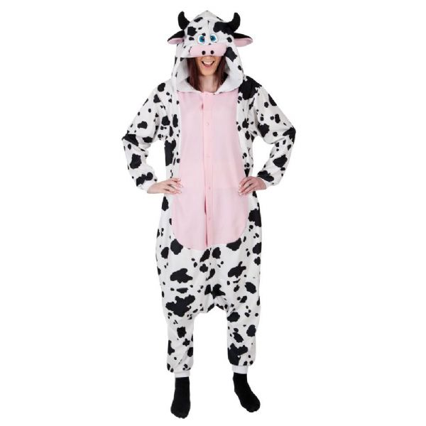 Adult Unisex Cow Fleecy All in 1 Costume Outfit for Animals Fancy Dress Cow